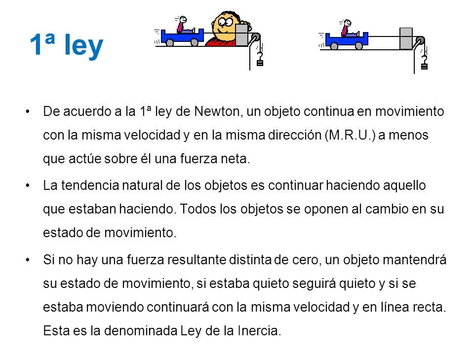 1ª ley De acuerdo a la 1ª ley de Newton, un objeto continua en movimiento con la misma velocidad y en la misma dirección (M.R.U.) a menos que actúe so