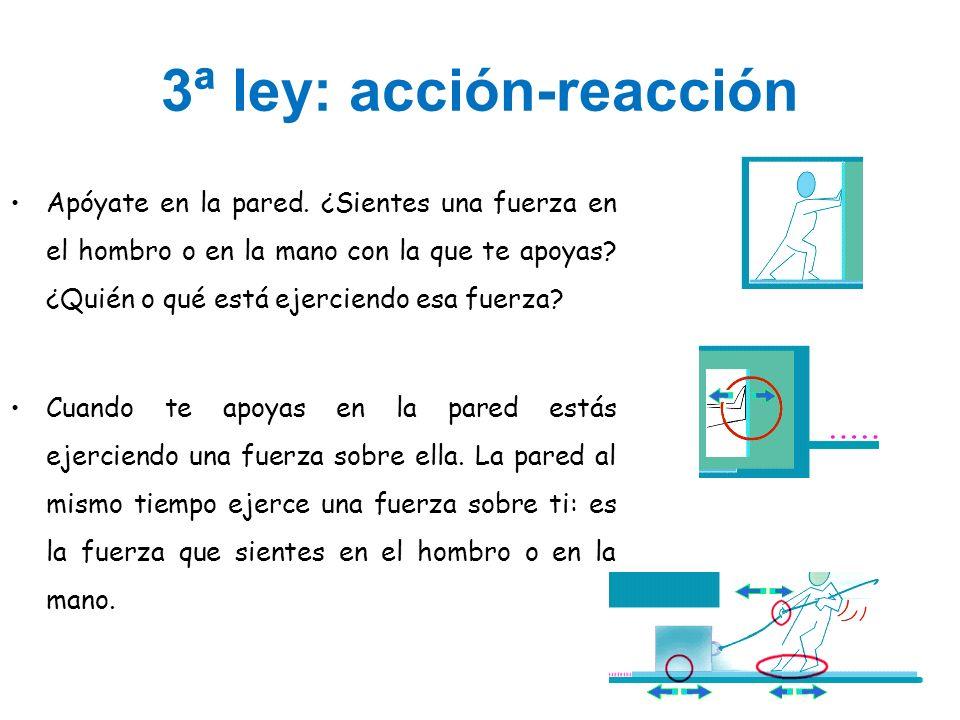 3ª ley: acción-reacción Apóyate en la pared. ¿Sientes una fuerza en el hombro o en la mano con la que te apoyas? ¿Quién o qué está ejerciendo esa fuer
