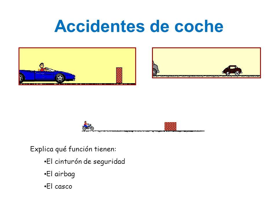 Accidentes de coche Explica qué función tienen: El cinturón de seguridad El airbag El casco