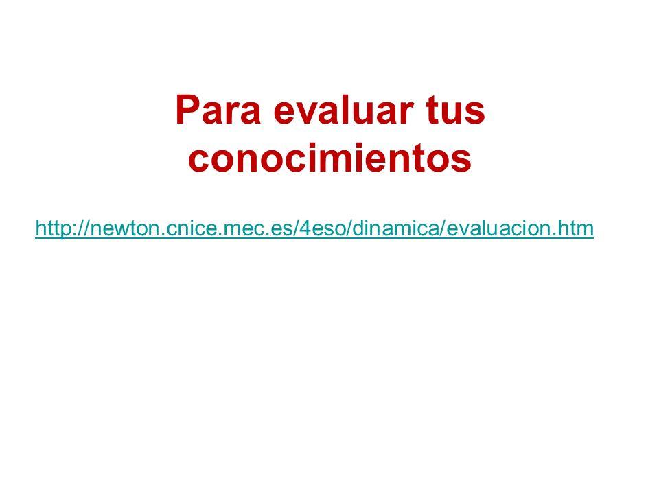 Para evaluar tus conocimientos http://newton.cnice.mec.es/4eso/dinamica/evaluacion.htm