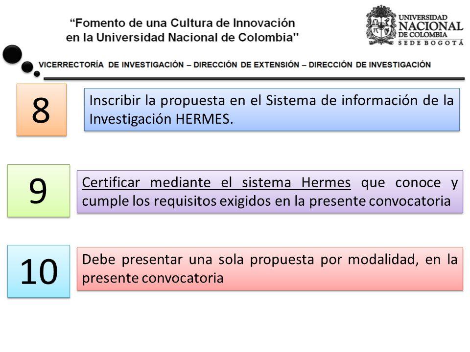 Inscribir la propuesta en el Sistema de información de la Investigación HERMES. 8 8 Certificar mediante el sistema Hermes que conoce y cumple los requ