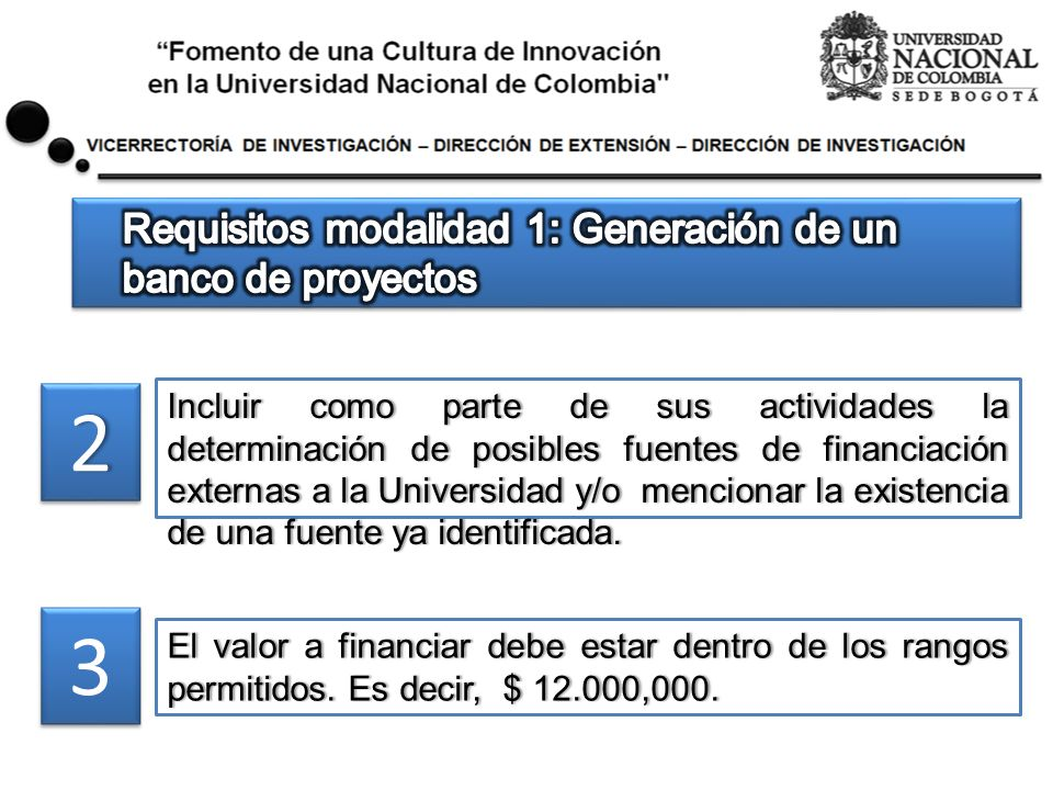 22 Incluir como parte de sus actividades la determinación de posibles fuentes de financiación externas a la Universidad y/o mencionar la existencia de