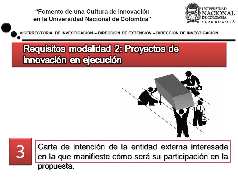 Carta de intención de la entidad externa interesada en la que manifieste cómo será su participación en la propuesta. 3 3