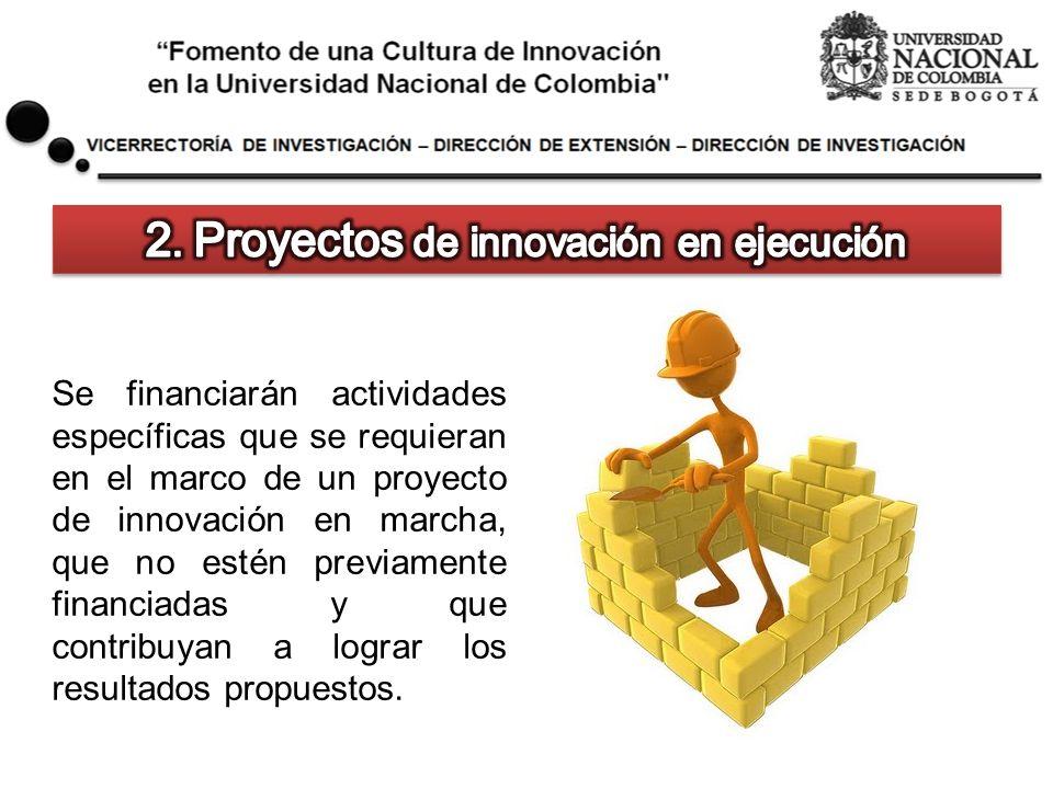 Se financiarán actividades específicas que se requieran en el marco de un proyecto de innovación en marcha, que no estén previamente financiadas y que