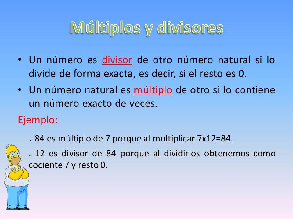 Un número es divisor de otro número natural si lo divide de forma exacta, es decir, si el resto es 0.