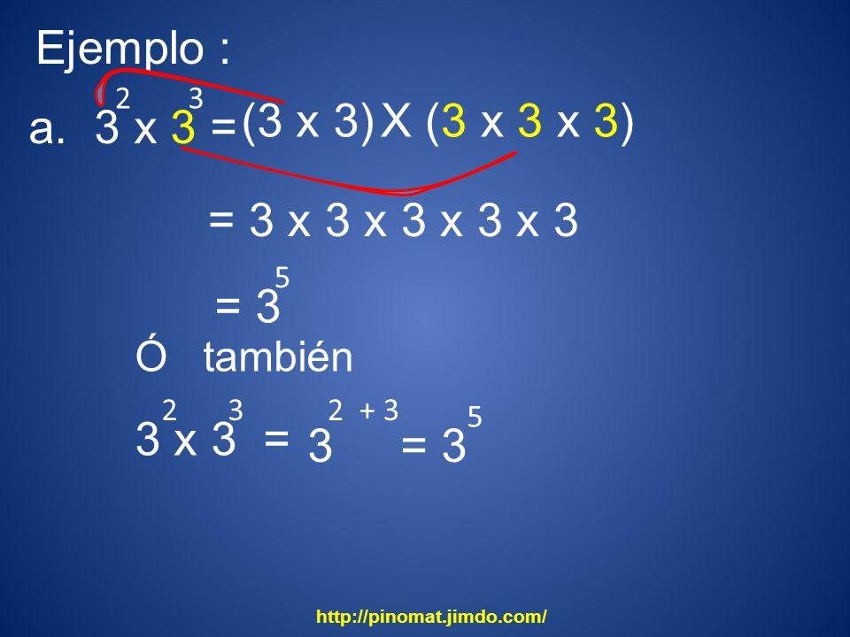 23 5 2 + 3 5 Ejemplo : a. 3 x 3 = (3 x 3) X (3 x 3 x 3) = 3 x 3 x 3 x 3 x 3 = 3 Ó también 3 x 3 = 23 3= 3 http://pinomat.jimdo.com/