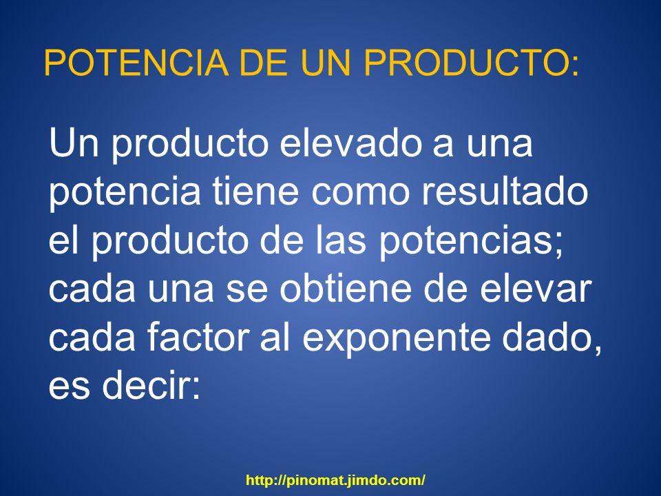 POTENCIA DE UN PRODUCTO: Un producto elevado a una potencia tiene como resultado el producto de las potencias; cada una se obtiene de elevar cada fact