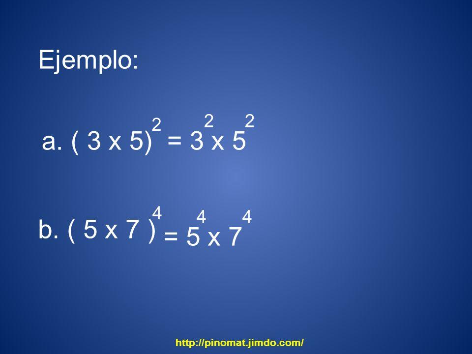 Ejemplo: a. ( 3 x 5) 2 = 3 x 5 2 b. ( 5 x 7 ) 4 = 5 x 7 4 http://pinomat.jimdo.com/