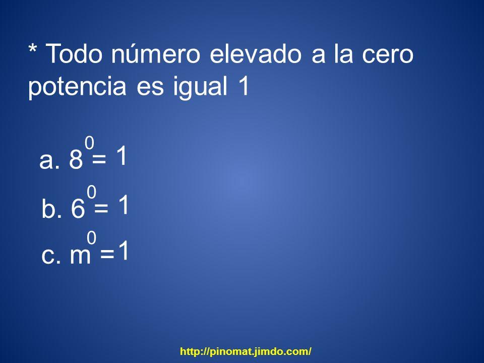 * Todo número elevado a la cero potencia es igual 1 a. 8 = 0 1 b. 6 = 0 1 c. m = 0 1 http://pinomat.jimdo.com/
