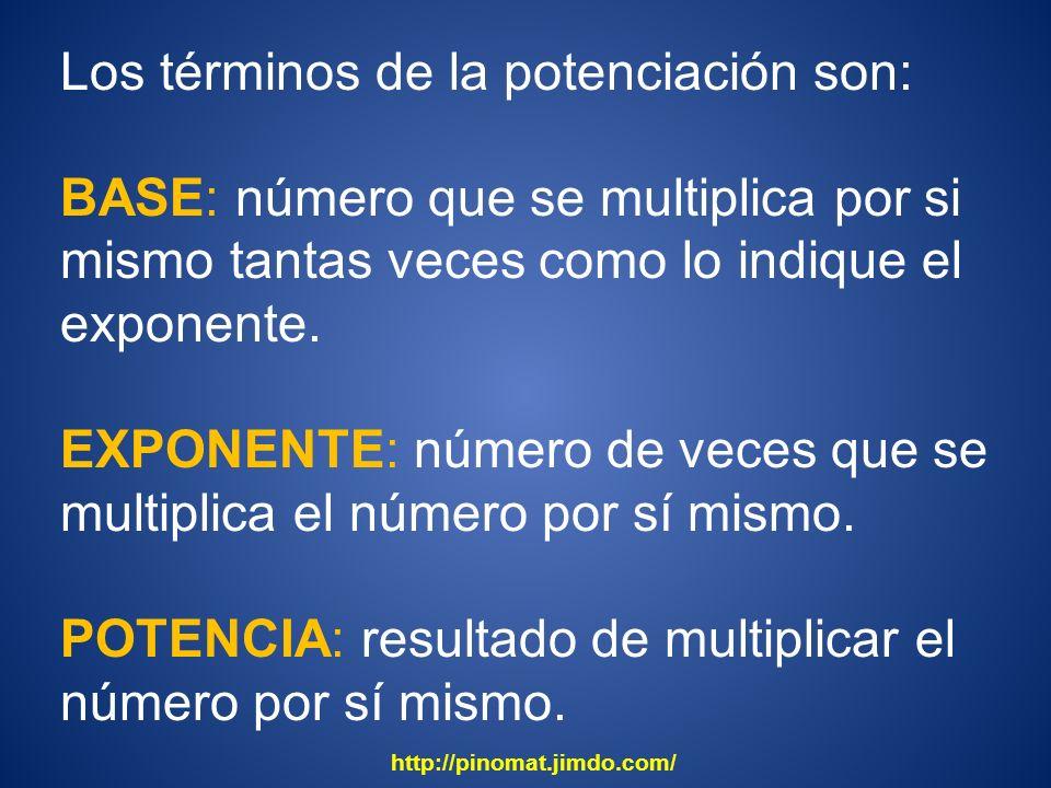 Los términos de la potenciación son: BASE: número que se multiplica por si mismo tantas veces como lo indique el exponente. EXPONENTE: número de veces
