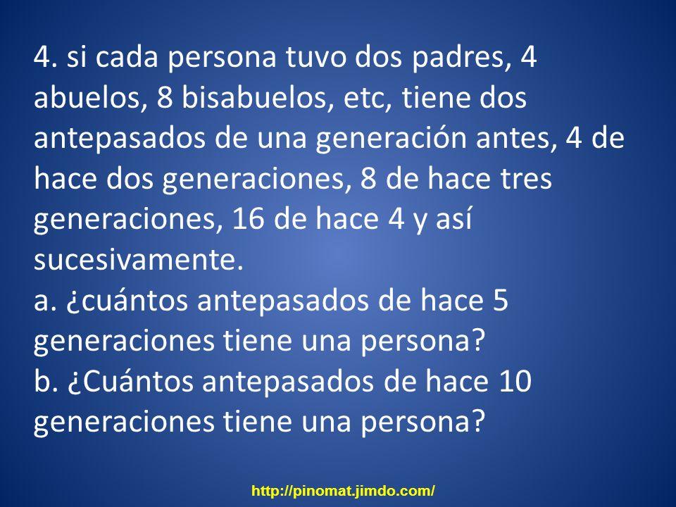 4. si cada persona tuvo dos padres, 4 abuelos, 8 bisabuelos, etc, tiene dos antepasados de una generación antes, 4 de hace dos generaciones, 8 de hace