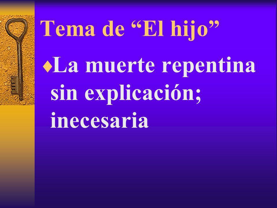 Tema de El hijo La muerte repentina sin explicación; inecesaria
