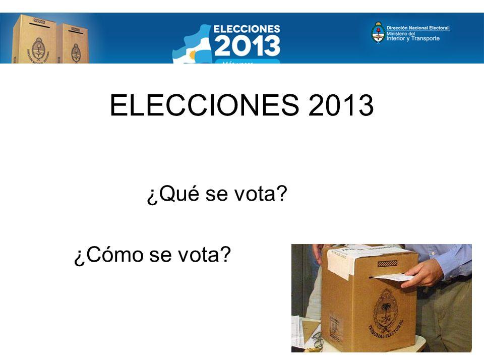ELECCIONES 2013 ¿Qué se vota? ¿Cómo se vota?
