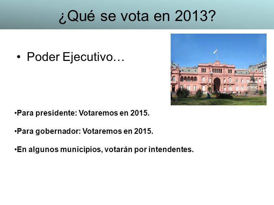 Poder Ejecutivo… Para presidente: Votaremos en 2015. Para gobernador: Votaremos en 2015. En algunos municipios, votarán por intendentes. ¿Qué se vota
