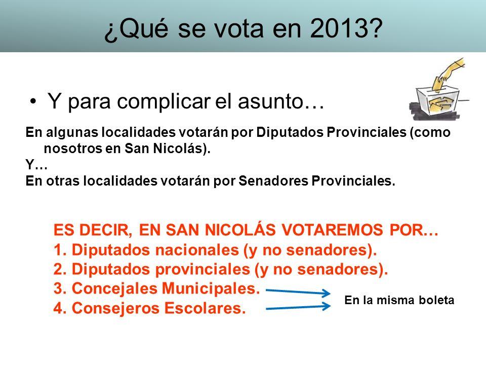 Y para complicar el asunto… En algunas localidades votarán por Diputados Provinciales (como nosotros en San Nicolás). Y… En otras localidades votarán