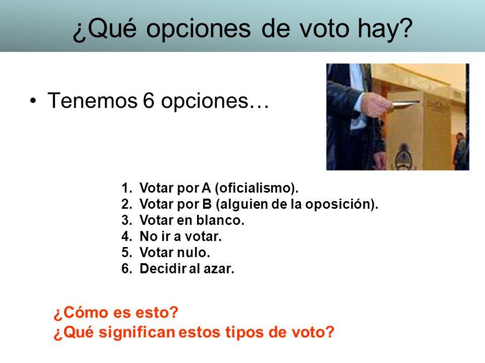 Tenemos 6 opciones… 1.Votar por A (oficialismo). 2.Votar por B (alguien de la oposición). 3.Votar en blanco. 4.No ir a votar. 5.Votar nulo. 6.Decidir