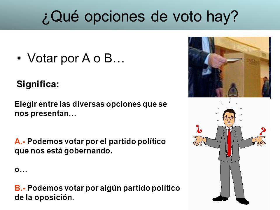 Votar por A o B… Elegir entre las diversas opciones que se nos presentan… A.- Podemos votar por el partido político que nos está gobernando. o… B.- Po