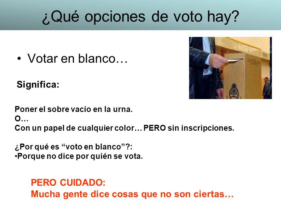 Votar en blanco… Poner el sobre vacío en la urna. O… Con un papel de cualquier color… PERO sin inscripciones. ¿Por qué es voto en blanco?: Porque no d