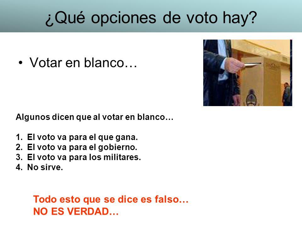 Votar en blanco… Algunos dicen que al votar en blanco… 1.El voto va para el que gana. 2.El voto va para el gobierno. 3.El voto va para los militares.