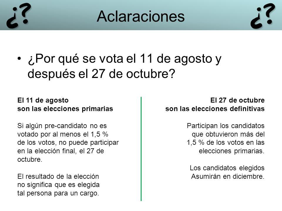 Aclaraciones ¿Por qué se vota el 11 de agosto y después el 27 de octubre? El 11 de agosto son las elecciones primarias Si algún pre-candidato no es vo
