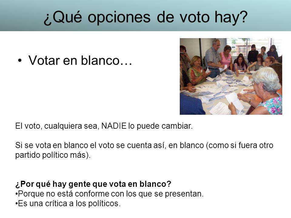Votar en blanco… El voto, cualquiera sea, NADIE lo puede cambiar. Si se vota en blanco el voto se cuenta así, en blanco (como si fuera otro partido po