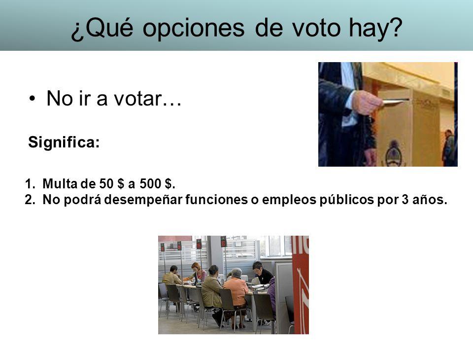 No ir a votar… 1.Multa de 50 $ a 500 $. 2.No podrá desempeñar funciones o empleos públicos por 3 años. Significa: ¿Qué opciones de voto hay?
