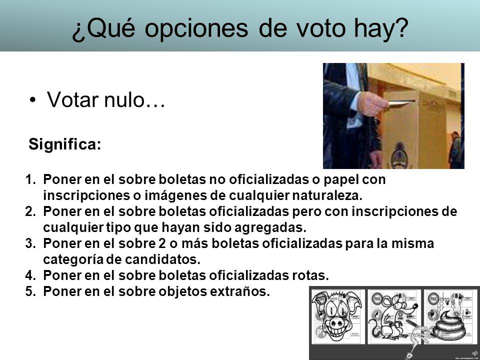 Votar nulo… 1.Poner en el sobre boletas no oficializadas o papel con inscripciones o imágenes de cualquier naturaleza. 2.Poner en el sobre boletas ofi
