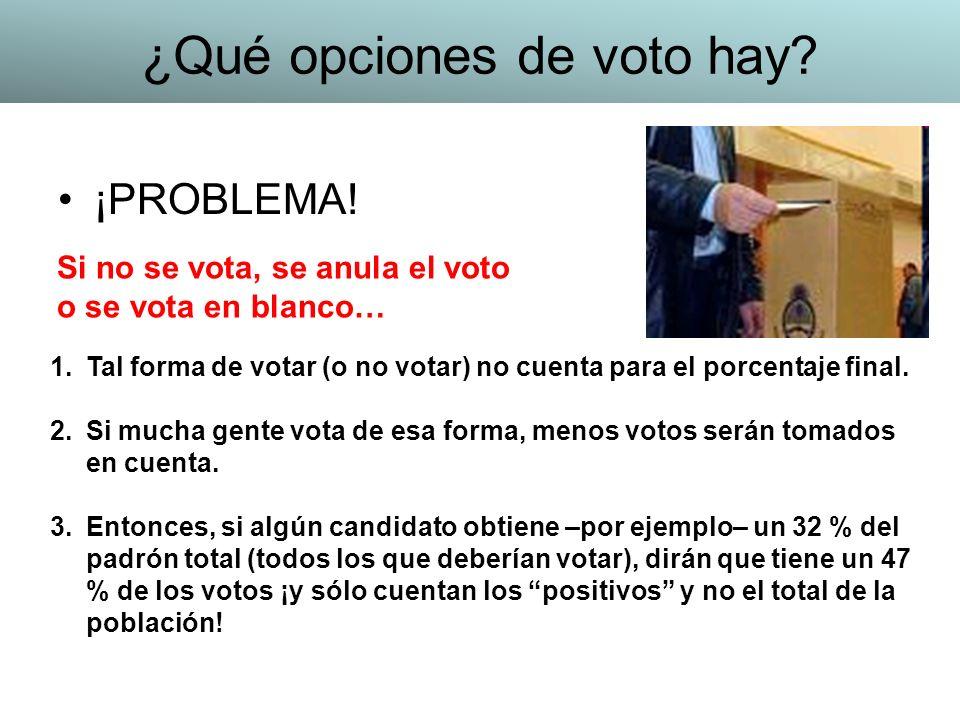 ¡PROBLEMA! 1.Tal forma de votar (o no votar) no cuenta para el porcentaje final. 2.Si mucha gente vota de esa forma, menos votos serán tomados en cuen