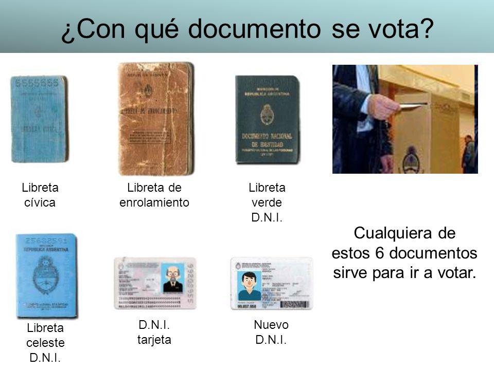 ¿Con qué documento se vota? Libreta cívica Libreta de enrolamiento Libreta verde D.N.I. Libreta celeste D.N.I. tarjeta Nuevo D.N.I. Cualquiera de esto