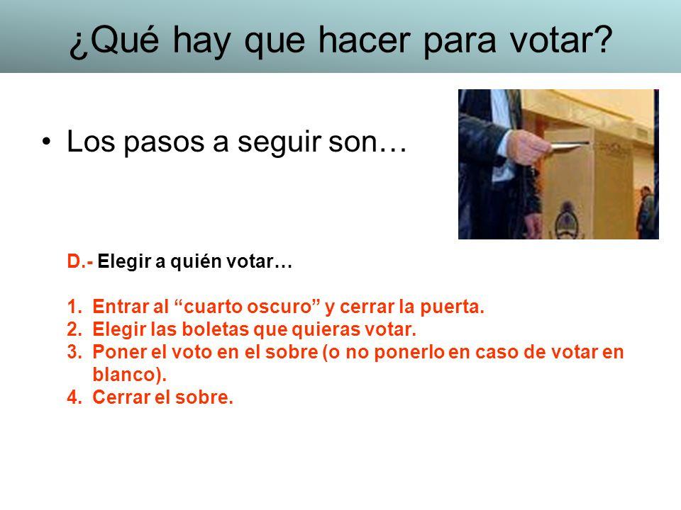 Los pasos a seguir son… D.- Elegir a quién votar… 1.Entrar al cuarto oscuro y cerrar la puerta. 2.Elegir las boletas que quieras votar. 3.Poner el vot