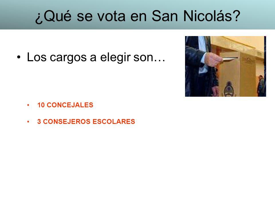 Los cargos a elegir son… 10 CONCEJALES 3 CONSEJEROS ESCOLARES ¿Qué se vota en San Nicolás?