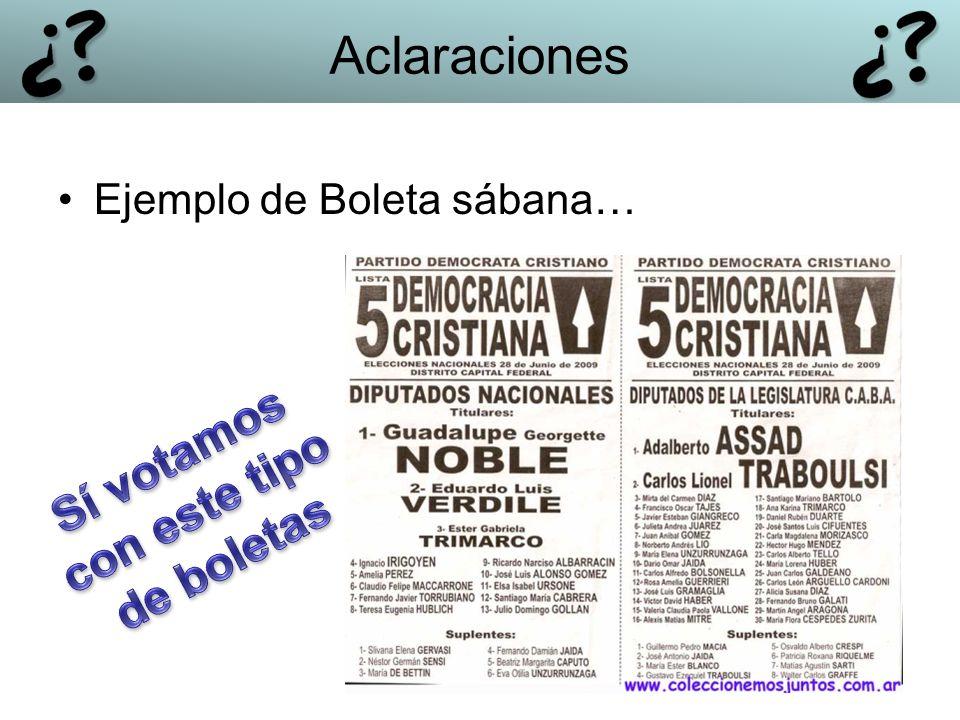 Ejemplo de Boleta sábana… Aclaraciones