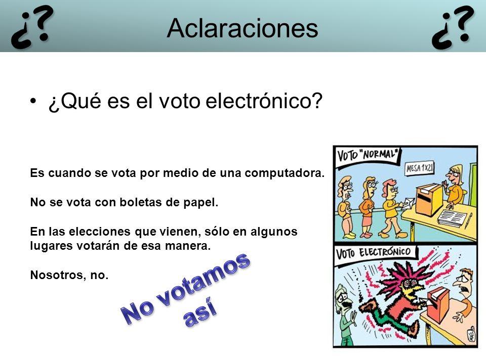 ¿Qué es el voto electrónico? Es cuando se vota por medio de una computadora. No se vota con boletas de papel. En las elecciones que vienen, sólo en al