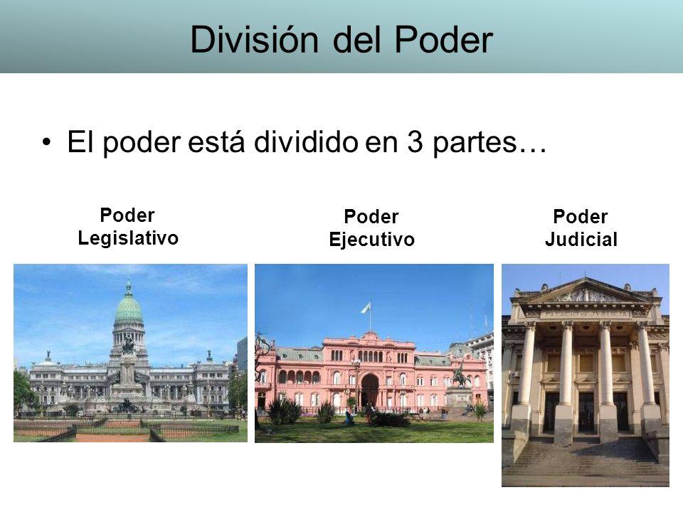 El poder está dividido en 3 partes… Poder Legislativo Poder Ejecutivo Poder Judicial División del Poder