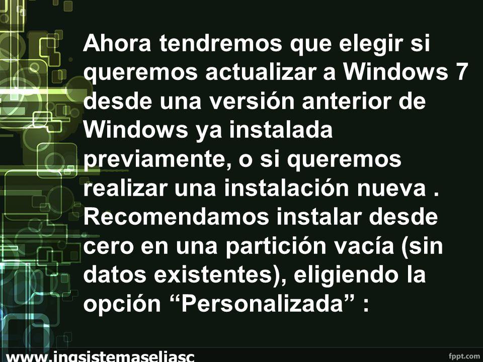 Ahora tendremos que elegir si queremos actualizar a Windows 7 desde una versión anterior de Windows ya instalada previamente, o si queremos realizar una instalación nueva.