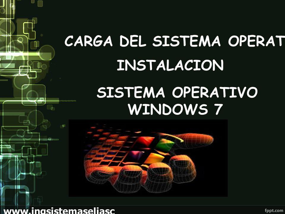 CARGA DEL SISTEMA OPERATIVO INSTALACION SISTEMA OPERATIVO WINDOWS 7 www.ingsistemaseliasc hoez.wordpress.com