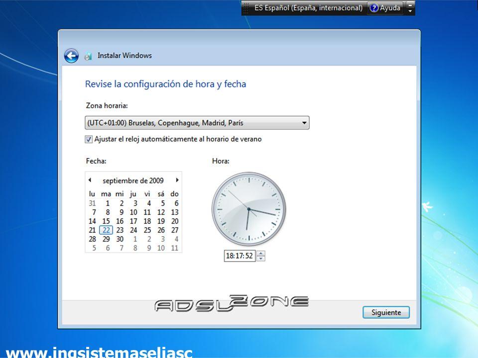 Habiendo escogido toda la configuración que deseamos, el programa de instalación de Windows 7 la pondrá en práctica: