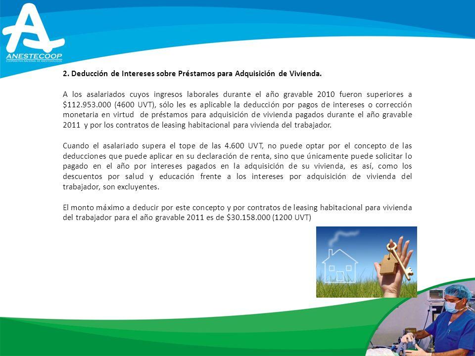 2.Deducción de Intereses sobre Préstamos para Adquisición de Vivienda.
