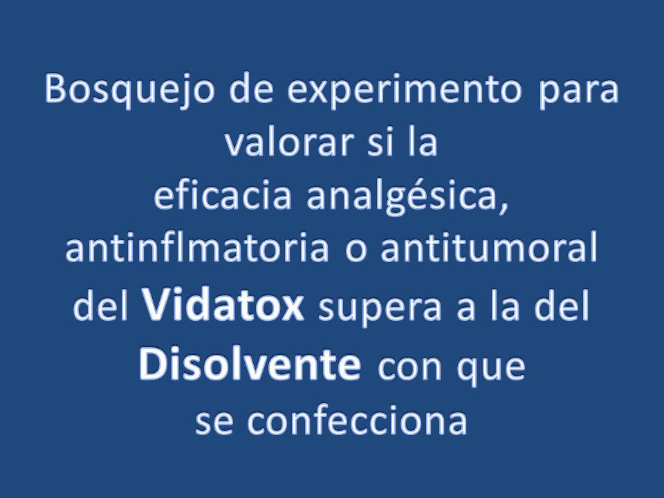 Inv Pat Para evaluar el Vidatox 30CH, un producto homeopático patrocinado por la empresa LABIOFAM, se propone un experimento que se ubica dentro de los estándares admitidos universalmente para evaluar tecnologías.
