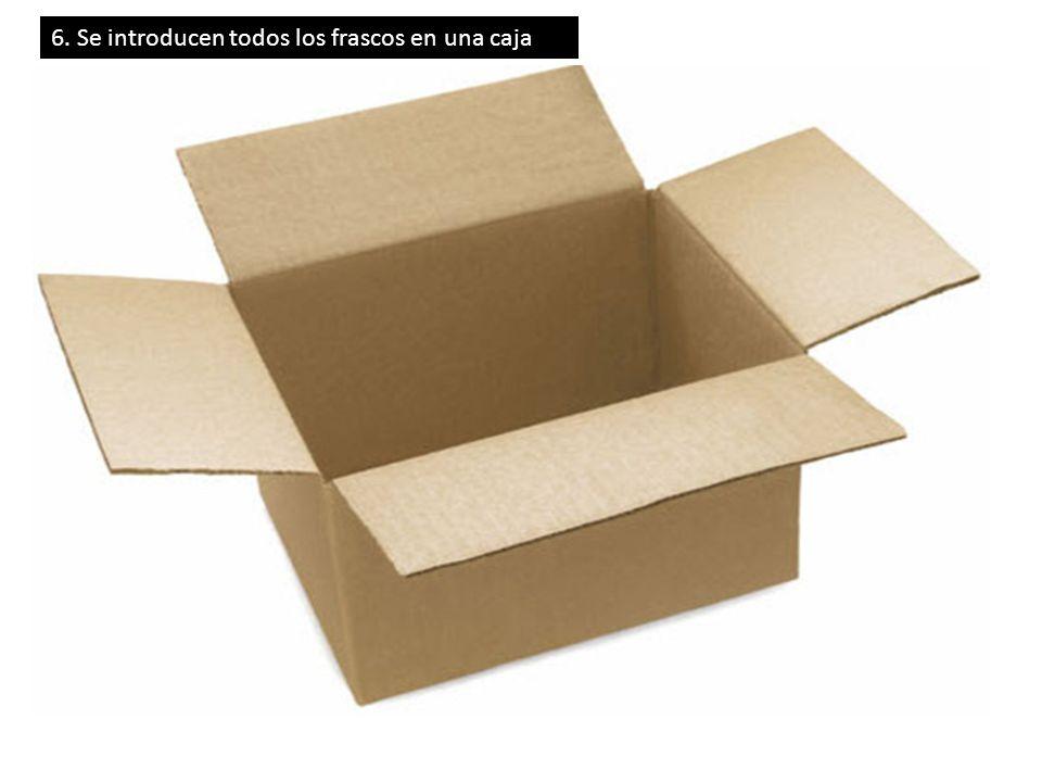 6. Se introducen todos los frascos en una caja