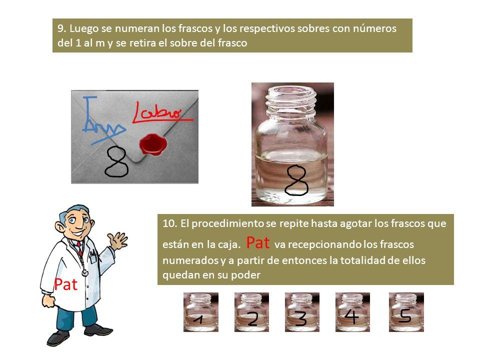 9. Luego se numeran los frascos y los respectivos sobres con números del 1 al m y se retira el sobre del frasco 10. El procedimiento se repite hasta a
