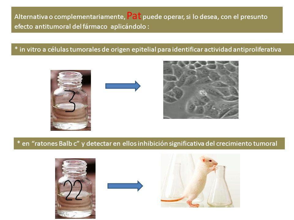 Alternativa o complementariamente, Pat puede operar, si lo desea, con el presunto efecto antitumoral del fármaco aplicándolo : * en ratones Balb c y d