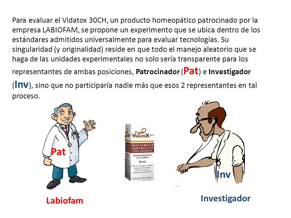 Inv Pat Para evaluar el Vidatox 30CH, un producto homeopático patrocinado por la empresa LABIOFAM, se propone un experimento que se ubica dentro de lo