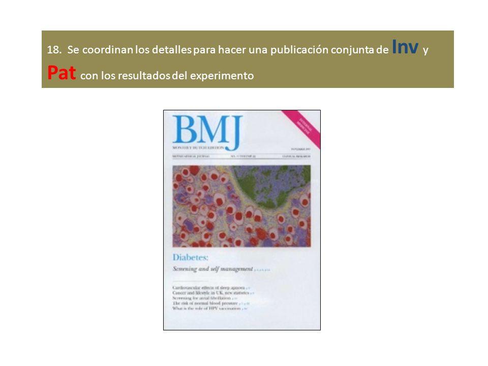 18. Se coordinan los detalles para hacer una publicación conjunta de Inv y Pat con los resultados del experimento
