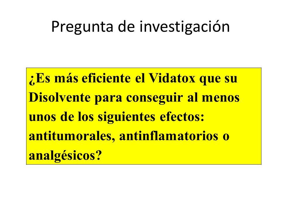 Pregunta de investigación ¿Es más eficiente el Vidatox que su Disolvente para conseguir al menos unos de los siguientes efectos: antitumorales, antinf