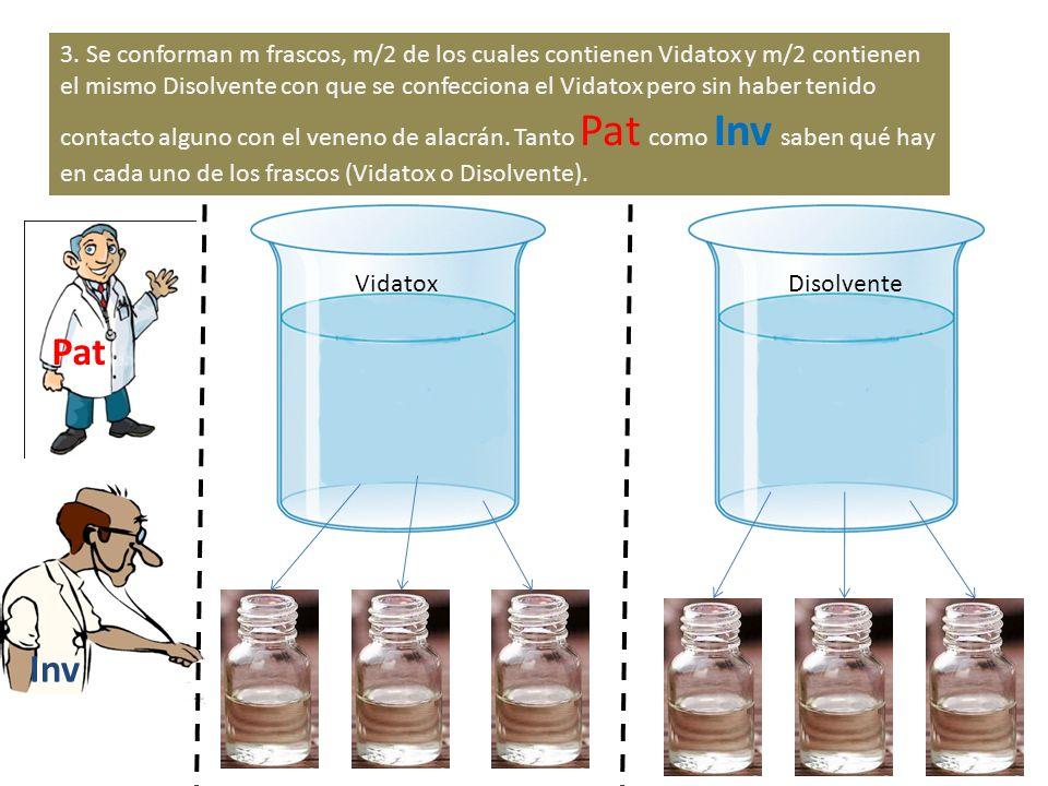 3. Se conforman m frascos, m/2 de los cuales contienen Vidatox y m/2 contienen el mismo Disolvente con que se confecciona el Vidatox pero sin haber te