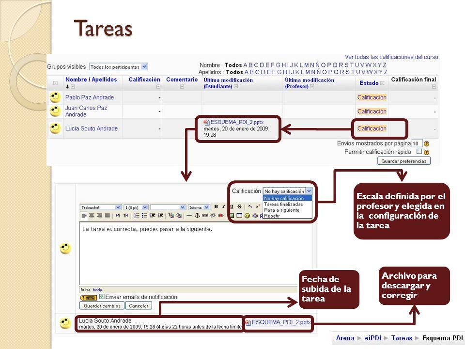 Tareas Escala definida por el profesor y elegida en la configuración de la tarea Archivo para descargar y corregir Fecha de subida de la tarea