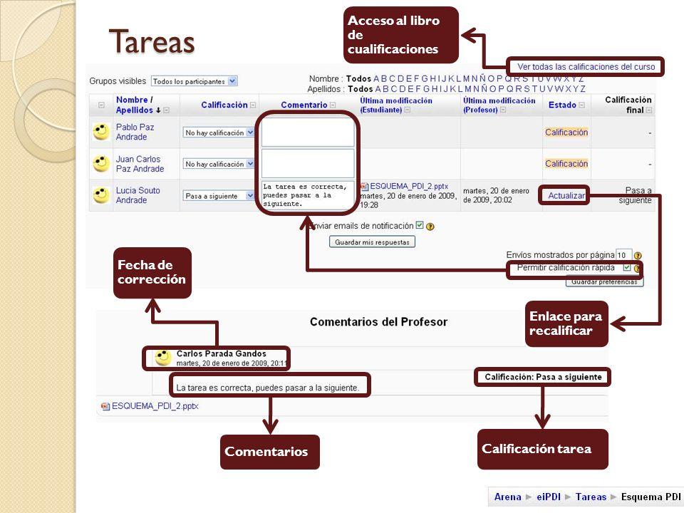 Tareas Comentarios Fecha de corrección Acceso al libro de cualificaciones Calificación tarea Enlace para recalificar