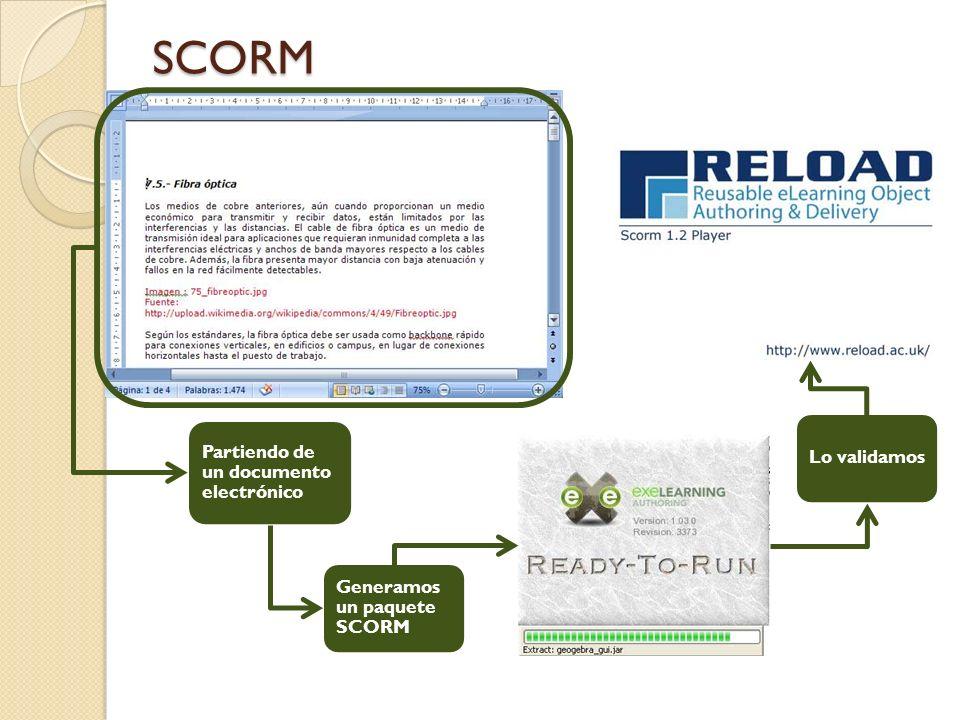 SCORM Partiendo de un documento electrónico Generamos un paquete SCORM Lo validamos
