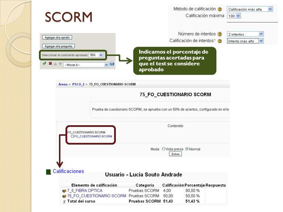 Indicamos el porcentaje de preguntas acertadas para que el test se considere aprobado SCORM
